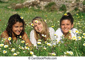 tieners, groep, hippy