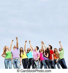 tieners, groep, wijzende