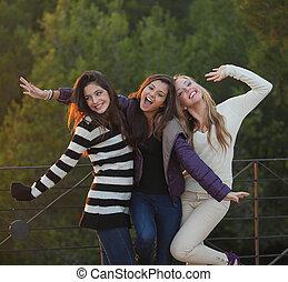 tieners, mode, groep, vriendelijk, vrolijke
