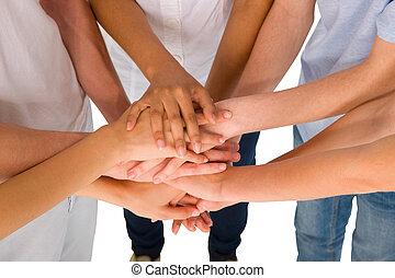 tieners, samen, handen