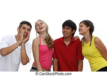 tieners, vrolijke
