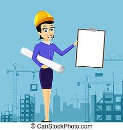 tient, architecte, ou, agent immobilier, vide, casque, document