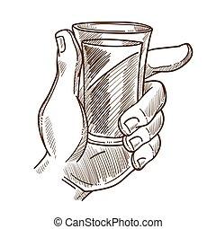 tient, boisson, illustration, main, verre, monochrome, mâle
