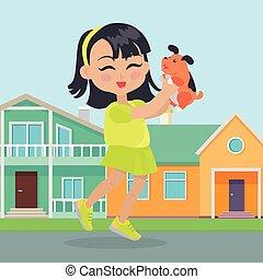 tient, chien, maisons, mains, devant, petit, girl