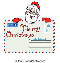 tient, claus, enveloppe, santa, cachet, publipostage