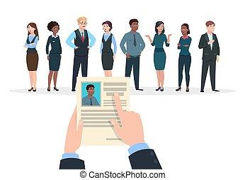 tient, concept., business, cv, gens, vecteur, emploi, fond, interview., recrutement, carrière, resume., homme affaires, candidats