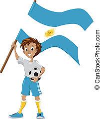 tient, drapeau, football, ventilateur, argentine