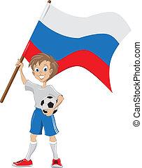 tient, drapeau, ventilateur, russe, football, heureux