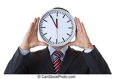tient, horloge, cadre, surcharge, figure, devant, signe
