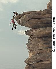 tient, jeune, main, homme, grimpeur, dehors