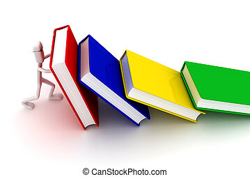 tient, livres, homme