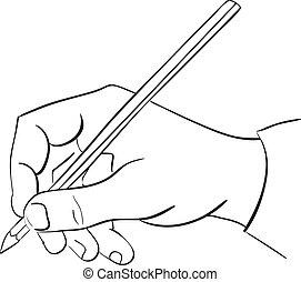 tient, pencil., main homme