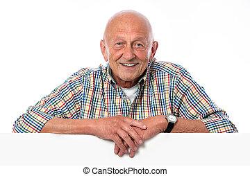 tient, planche, vide, homme aîné, sourire heureux