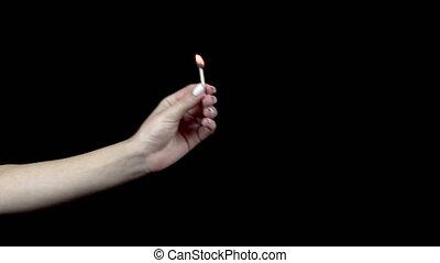 tient, quoique, dehors, allumette, 4k, femme, homme, brûlé, sien, met, fingers.