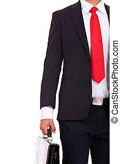 tient, serviette, homme affaires