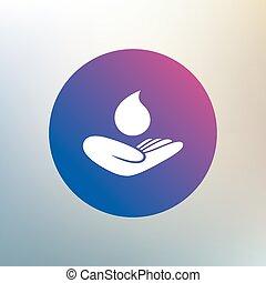 tient, signe., goutte, main, eau, sauver, symbole