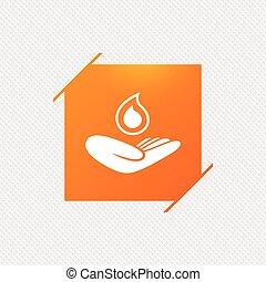 tient, signe., goutte, symbole., main, eau, sauver