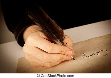 tient, sur, écrivain, stylo écriture, papier, fontaine,...