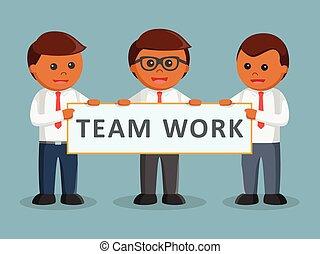 tient, trois, collaboration, africaine, homme affaires, bannière