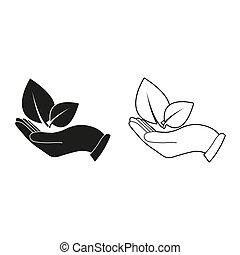 tient, -, vert, main, vecteur, feuilles, icône