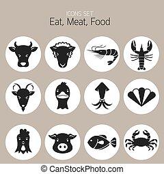tier, heiligenbilder, fleisch, satz, :, meeresfrüchte