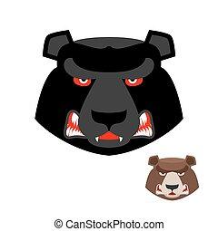 tier, kopf, wild, wild, predator., gräulich, brutal, böser , groß, hintergrund., bär, übel, animal., weißes, starke , logo., aggressiv, wald