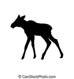 tier, silhouette, schwarz, säugetier, elch, elch, kälbchen