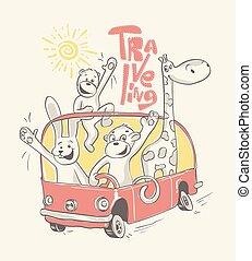 tiere, abbildung, vektor, bus., reisen, glücklich