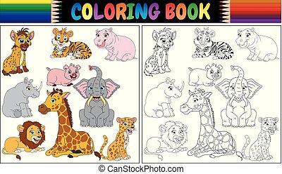 tiere, karikatur, färbung, wild, buch