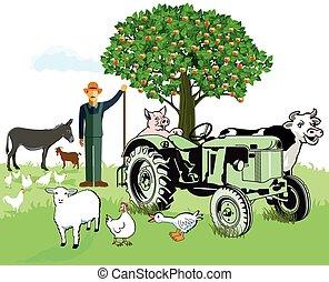 Tiere mit Bauern.eps