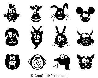 tiere, tierkreis, reizend, karikatur, zwölf, chinesisches , ikone