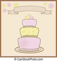 tiered, gâteau, mariage, love.