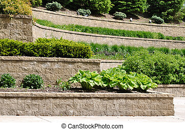 Tiered Retaining Wall with Hosta and Shrubs