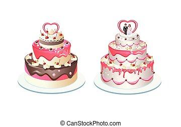tiered wedding cake with cream