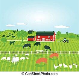 tieren, landwirtschaft, mit