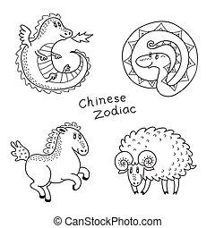 tierkreis, satz, chinesisches , zeichen & schilder