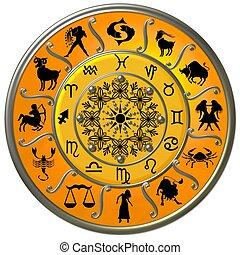 tierkreis, scheibe, mit, zeichen & schilder, und, symbole