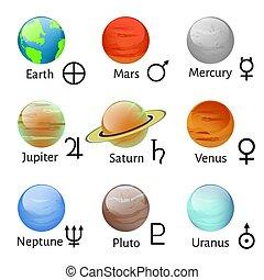 tierkreis, und, astrologie, symbole