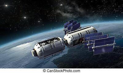 tierra, agrimensura, nave espacial