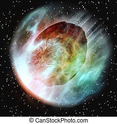 tierra, atmósfera, asteroide, entrar