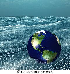 tierra, binario, mar, vasto, flotadores