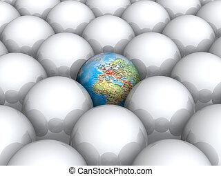 tierra, blanco, dentro, pelotas