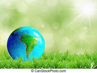 tierra, césped, verde, acostado