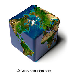 tierra, cúbico, translúcido, océano