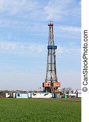 tierra, campo, aceite, verde, torre de perforación