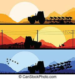 tierra, campos, ilustración, tractores, vector, plano de...