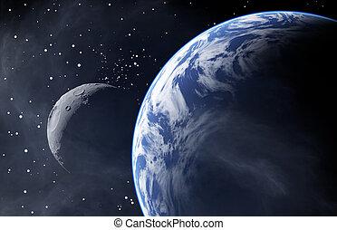 tierra, como, planeta, con, un, luna