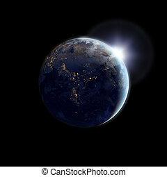 tierra, como, vistos, de, espacio exterior