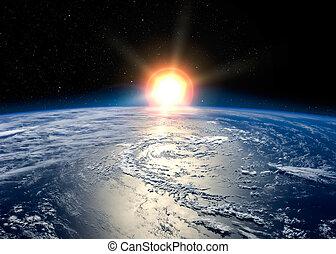 tierra, con, el, sol creciente