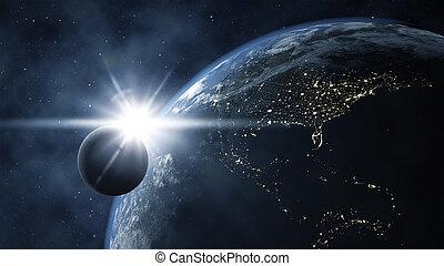 tierra, con, luna